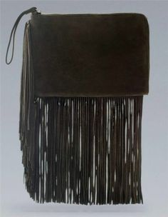 ZARA Fringed Green Suede Cow Leather Clutch Bag Handbag BNWT $105.00 nwt from the UK