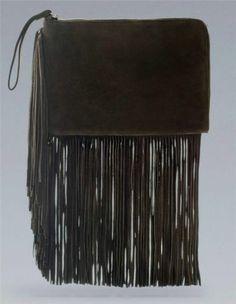 ZARA Fringed Green Suede Cow Leather Clutch Bag Handbag BNWT $105.00 nwt from the UK