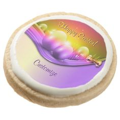 Personalized Happy Easter Colored Eggs Round Premium Shortbread Cookies