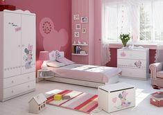 """Traumhaft schönes Minnie Mouse Kinderzimmer   Kindermöbel """"Minnie Mouse""""   komplettes Jugendzimmer   Kleiderschrank Kinderbett mit Matratze, Bettkasten und Nachtschrank Kommode, Truhe   #kinderzimmer #jugendzimmer *werbung"""