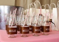 Milk bottles at a milk & cookies party