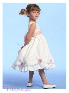 Ivory or White Blossom Taffeta Girl Dress