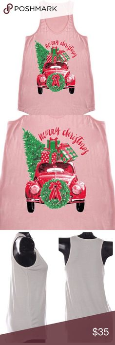 "Christmas Car Tree Tank Top Pink Christmas car with tree and presents graphic A-line tank. Just in time for Christmas and the holidays! Fitted style. True to size. Very stretchy. Third picture shows length sample. 95% rayon, 5% spandex. Made in the USA.   * Before asking, please note whatever sizes are listed below are all I currently have in stock.   ▫️Add to Bundle"" to add more items in my closet or ""Buy"" to checkout here with your size.  ↓Follow me on Instagram ↓         @ love.jen.marie…"