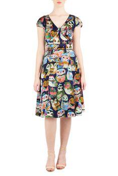 Owl Graphic Print Dresses, V-Neck Bolero Dresses Shop Online Womens Designer Dresses | Sundresses | Women's Sundresses | Plus Size Sundresses | Petite Sundresses | CL0037556 | eShakti