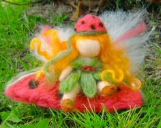 Needle Felted Wool Fairy Red Angel Doll X-Mas by Holichsmir