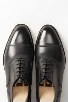 Magnolia in black calf - triple row stitching provides a twist on a classic model  http://www.theshoesnobblog.com/