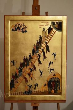 The Ladder of Divine Ascent. Christian Pictures, Jacob's Ladder, Byzantine Icons, Orthodox Christianity, Religious Icons, Orthodox Icons, Christian Art, Fresco, Jesus Christ