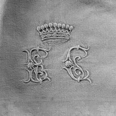 Love monogrammed linens.  Notice the crown - this was a piece for royalty.