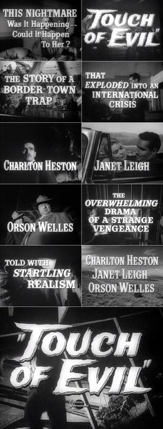 Orson Welles' Touch of Evil (1958). Brilliant in spite of the frightful miscasting of Charlton Heston as a Mexican. Welles was not pleased.