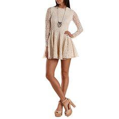 Long Sleeve Crochet Skater Dress: Charlotte Russe