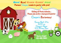 Farm Invitation (with or without Mickey or Minnie Mouse) Custom. $10.00, via Etsy.
