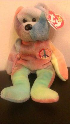 TY Beanie Babie Peace Tie Dye Tag Errors Rare Original Peace Beanie Baby 45df9dba5889