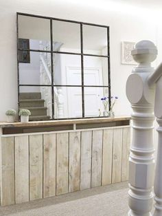 Made from distressed antique silver grey metal, this loft style window mirror has 9 panels and will add the perfect industrial vibe to any space. Rack Industrial, Regal Industrial, Industrial Mirrors, Vintage Industrial Decor, Industrial Living, Industrial Design, Industrial Style, Industrial Stairs, Kitchen Industrial