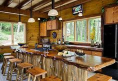 Charming rustic kitchen ideas and inspirations traba homes · hickory cabinets with slab wood counter tops pic wood Outdoor Kitchen Design, Rustic Kitchen, New Kitchen, Wooden Kitchen, Long Kitchen, Kitchen Ideas, Outdoor Kitchen Countertops, Concrete Countertops, Live Edge Wood