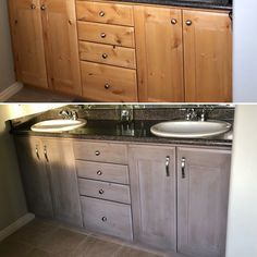 """Knotty alder before and after. I used OldMasters gel stain brushing on """"aged oak"""" which is a gray then a brown """"walnut"""" while it was still wet"""