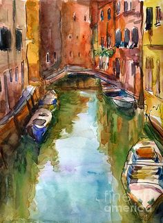 Watercolor Venice Canal Italy painting by Svetlana Novikova, www.SvetlanaNovikova.com