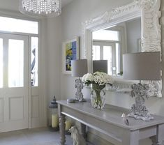 Oversized mirror with french style console