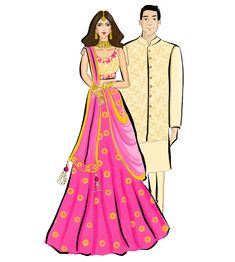 Wedding planner ilustration fashion sketches 52 ideas for 2019 Wedding Illustration, Couple Illustration, Fashion Illustration Sketches, Fashion Design Sketches, Wedding Couple Cartoon, Indian Wedding Couple, Wedding Dress Sketches, Wedding Photo Booth Props, Cute Love Pictures