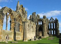 Whitby Abbey, another amazing cathedral in England. Yorkshire England, North Yorkshire, Places To See, Places Ive Been, Flying Buttress, Whitby Abbey, Ancient Buildings, Seaside Towns, Ancient Ruins