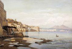 Posillipo, Naples by Hermann Corrodi (Italian 1844 – 1905)