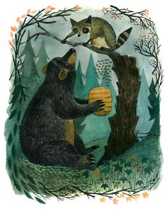 the vintage postbox - Illustration: A Bear and a Raccoon There's a blog...