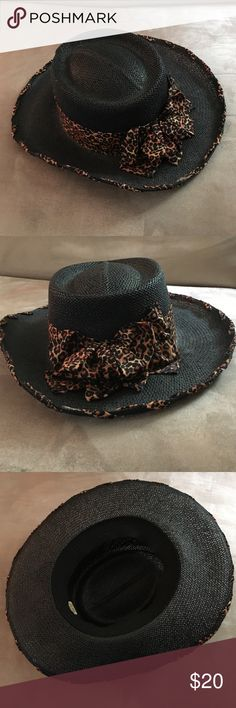"""black straw style brim hat leopard scarf bow Sophisticated and finest draw styled grandma hat with contrasting leopard print scarf bow and edge trim. Hat is made in the USA. Dimensions: 24"""" opening, 3"""" brim and 4"""" rise. Accessories Hats"""