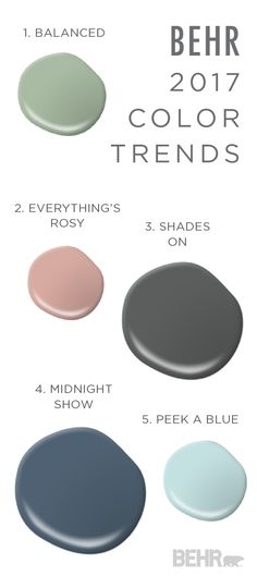 This paint combination of Balanced, Everything's Rosy, Shades On, Midnight Show, and Peek a Blue is sure to help tie your home together in a modern and cohesive way. Check out the full BEHR 2017 Color Trends for even more makeover inspiration. by aisha Trending Paint Colors, Paint Colors For Home, Paint Colours, Interior Paint Colors For Living Room, Wall Colors, House Colors, Color 2017, 2017 Colors, Paint Combinations