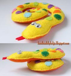 Yellow felt snake