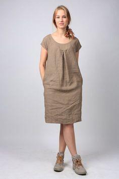 Khaki linen dress maxi dress c