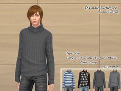 The Sims 4 | tamamaro Turtleneck | CAS clothing new mesh top for male adult everyday