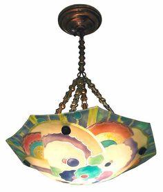 Art Deco Ceiling Light, Loys Lucha, fused enamel on glass, 1920's (signed)