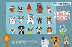 Winter Dogs Vector Edition by Darish on @creativemarket