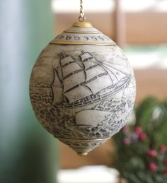 Scrimshaw Whaler's Ornament Vintage from Wind & Weather on shop.CatalogSpree.com, your personal digital mall.