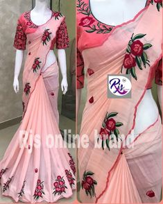 1995 free ship india* Limited pcs only. *pure georgettte sarees with beatiful thread wrk all over nd saree nd 😍 superb border… Saree Kuchu Designs, New Blouse Designs, Indian Sarees, Silk Sarees, Fashion Story, Women's Fashion, Wedding Silk Saree, Saree Blouse Patterns, Casual Saree