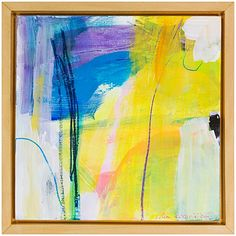 "From The Watchtower 3. Ellen Levine Dodd. Acrylic and mixed media on wood panel, in handmade basswood frame. 8.75"" x 8.75"""