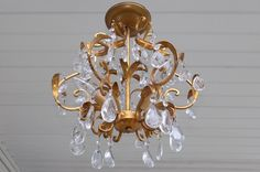 Italian gold gilt tole & crystal prism light fixture chandelier vintage metal