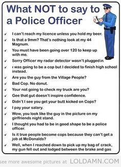 Funny pictures about What not to say to a police officer. Oh, and cool pics about What not to say to a police officer. Also, What not to say to a police officer photos. Libra, Police Jokes, Dad Jokes, Clean Funny Pictures, Funny Pics, Funny Clean, Cops Humor, Legal Humor, Look At My