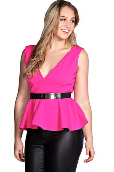 8bb596077e Bold colour plus size pieces for summer - Boohoo Plus Victoria Plunge Neck  Peplum Top. This is Meagan Kerr