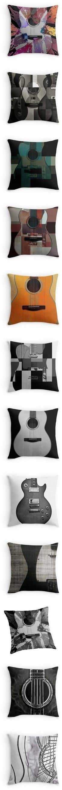 Guitar Pillows by Eric Rasmussen by christy-leigh-1 on Polyvore featuring pillow, home, home decor, metal home decor, teal home decor, teal home accessories, teal blue home decor, wall art, photography wall art and metal posters