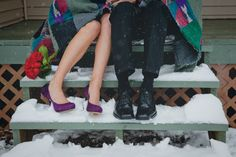 Winter wedding snuggles!- This would be a cute picture for the bride and groom to take...
