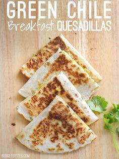 Gooey Monterrey Jack Gooey Monterrey Jack zesty green chiles and a crispy tortilla dress up your morning eggs in these quick and easy Green Chile Breakfast Quesadillas. Breakfast Desayunos, Breakfast Recipes, Breakfast Ideas, Vegetarian Breakfast, Breakfast Dishes, Breakfast Quesadilla, Breakfast Sandwiches, Vegetarian Sandwiches, Quesadillas