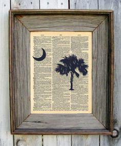 South Carolina Palmetto Tree Dictionary Art by wildandfreeprints // yeahTHATgreenville