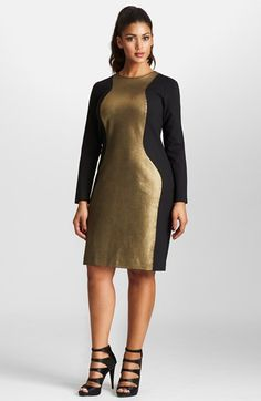 Mynt 1792 Metallic Colorblock Ponte Dress