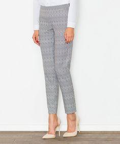 Gray Geometric Straight-Leg Pants