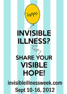 "'2012 INVISIBLE ILLNESS WEEK ~ SHARE YOUR VISIBLE HOPE!' What is the 2012 theme? Our theme this year is ""INVISIBLE ILLNESS? SHARE YOUR VISIBLE HOPE!"""