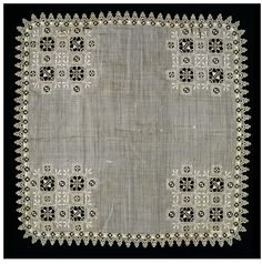 Linen handkerchief, cutwork, needle lace and embroidery, Italy, ca 1600. V Search the Collections