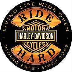 "Harley-Davidson 14"" Round Tin Sign - Ride Hard - 2010671 #harleydavidsonsoftailheritage"