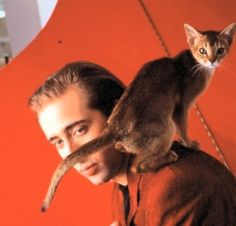 NICOLAS CAGE WITH HIS CAT