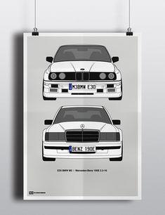 E30 BMW M3 |vs| Mercedes-Benz 190E 2.3-16 Poster on Behance