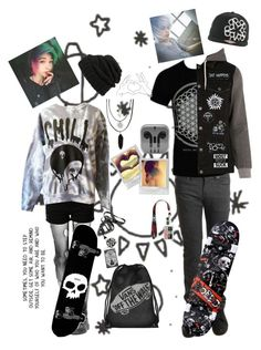 """""""He was a skater boy, she said 'see ya later boy'"""" by literaldisaster ❤ liked on Polyvore featuring even&odd, Naked & Famous, Hot Topic, Nintendo, River Island, Vans and Leith"""